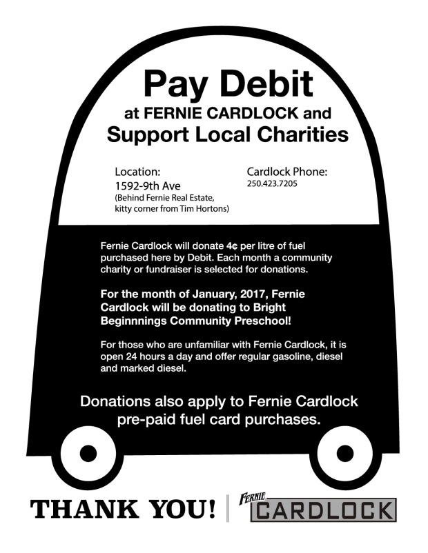 Fernie Cardlock donations to Bright Beginnings Fernie BC