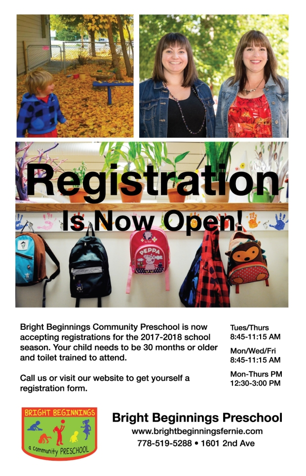 Registration is open for Bright Beginnings Community Preschool in Fernie BC - play based, fun learning centre.